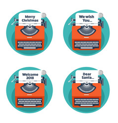 Typewriter in a flat style christmas wish list vector