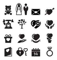 Valentine day wedding love icons set vector