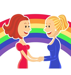 Young lesbian couple of women vector image vector image