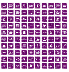 100 logistic and delivery icons set grunge purple vector image vector image