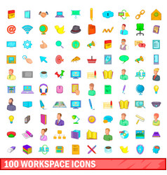 100 workspace icons set cartoon style vector