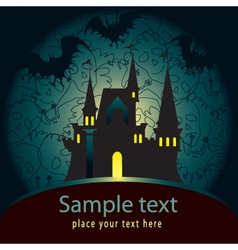 Halloween palace card vector