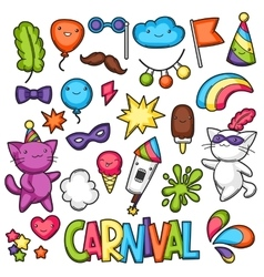 Carnival party kawaii set cute cats decorations vector