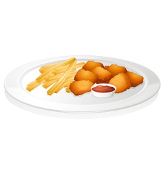 French fries cutlet and sauce vector