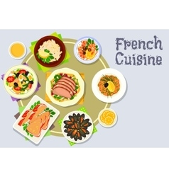 French cuisine dinner dishes icon for menu design vector