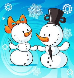 snowmen in love on abstract background - vector image