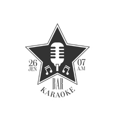 Star Shaped Frame With Microphone Karaoke Premium vector image