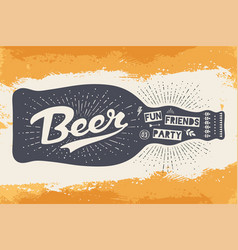 bottle with hand drawn lettering text beer here vector image