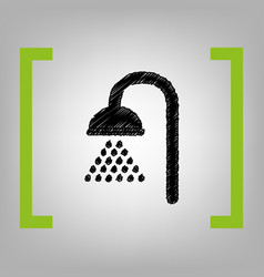 Shower sign  black scribble icon in citron vector