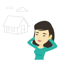 woman dreaming about buying new house vector image