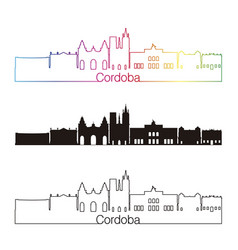 Cordoba ar skyline linear style with rainbow vector