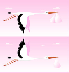 Stork delivering baby - its a girl vector