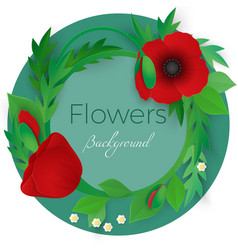 Flowers background with full blooming red poppies vector