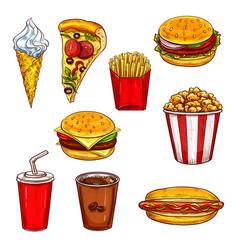 fast food sketch set with burger drink dessert vector image