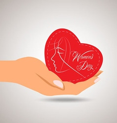 Happy womens day heart in hand vector