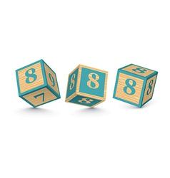 number 8 wooden alphabet blocks vector image