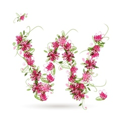 Floral letter w for your design vector