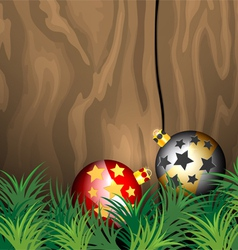 Glossy ball christmas on wooden vector