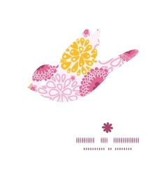 Pink field flowers bird silhouette pattern frame vector