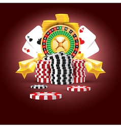 Casino european roulette money cards game vector