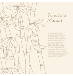 Tanabata festival handdrawn bamboo tree with vector