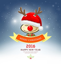 Merry christmas reindeer with santa hat vector