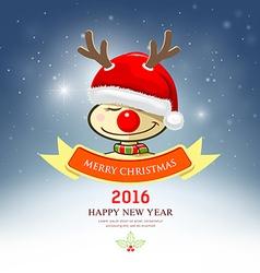 Merry Christmas reindeer with santa hat vector image