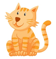 Ginger cat sitting alone vector