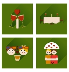 Set of flat web icons with long shadow valentines vector