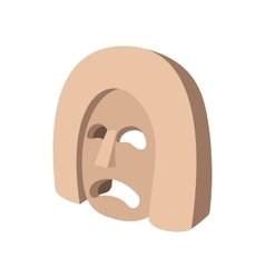 Stone mask icon cartoon style vector