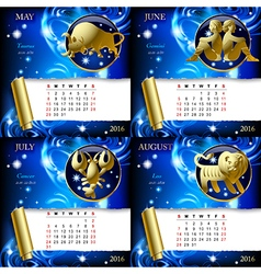 Zodiacal calendar pages of 2016 vector