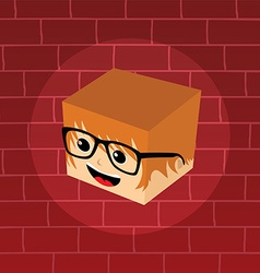 Male isometric block cartoon head vector