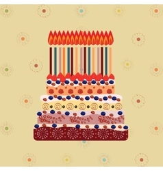 Birthday cake with fifteen candles fifteen years vector