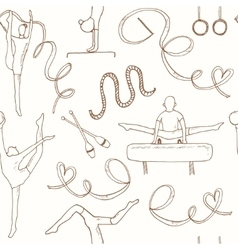 Hand drawn doodle gymnastics seamless pattern vector