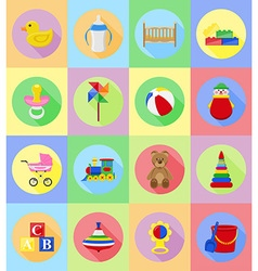 Baby flat icons 20 vector