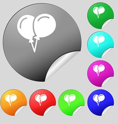 Balloon icon sign set of eight multi colored round vector