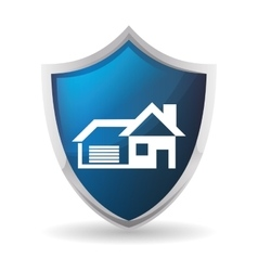 Blue protection shield home security insignia vector