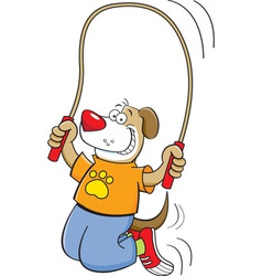 Cartoon dog jumping rope vector image vector image