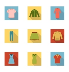Clothes set icons in flat style Big collection of vector image