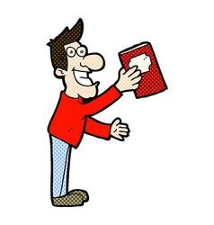 Comic cartoon man with book vector