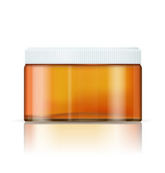 Cream container pharmaceutical brown glass bottle vector