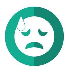 Crying face emoticon funny shadow vector