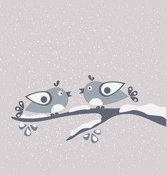 Cute birds for cards decorations winter merry vector