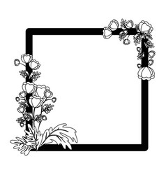 Decorative frame with flowers icon vector