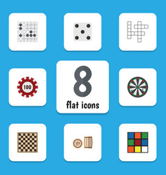 Flat icon entertainment set of poker lottery vector