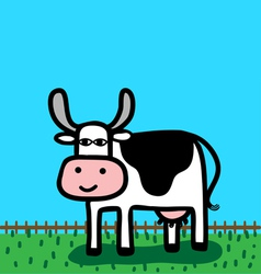 funny cartoon cow vector image vector image