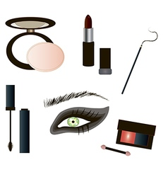 Gothic Make up details - beauty products vector image