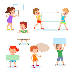 Happy kids with paper cards and banners cartoon vector