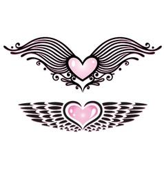 heart tribals wings vector image vector image