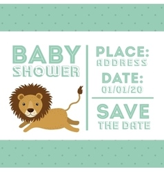 Lion animal baby shower card icon vector
